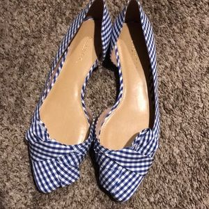 Flats in blue and white stripe